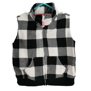 Girls Buffalo Plaid / Check Fleece Vest 6m